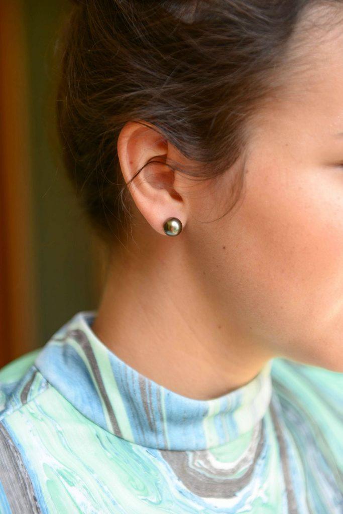 Laguna Pearl 9mm Tahitian south sea pearl stud earrings