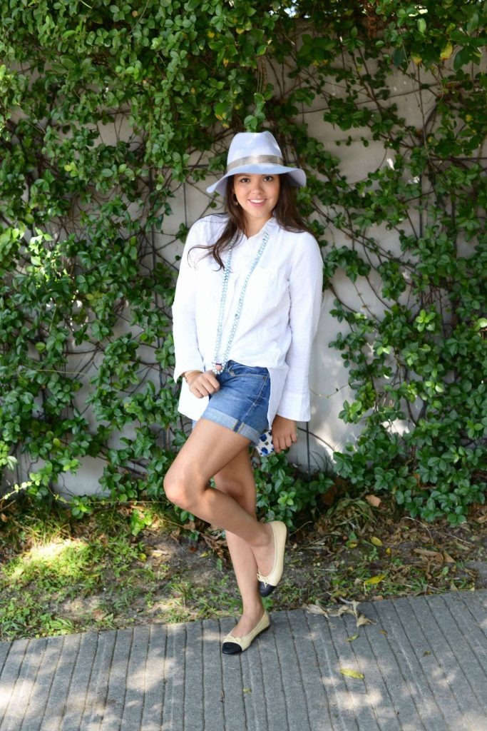 how to style a white button-down shirt for summer