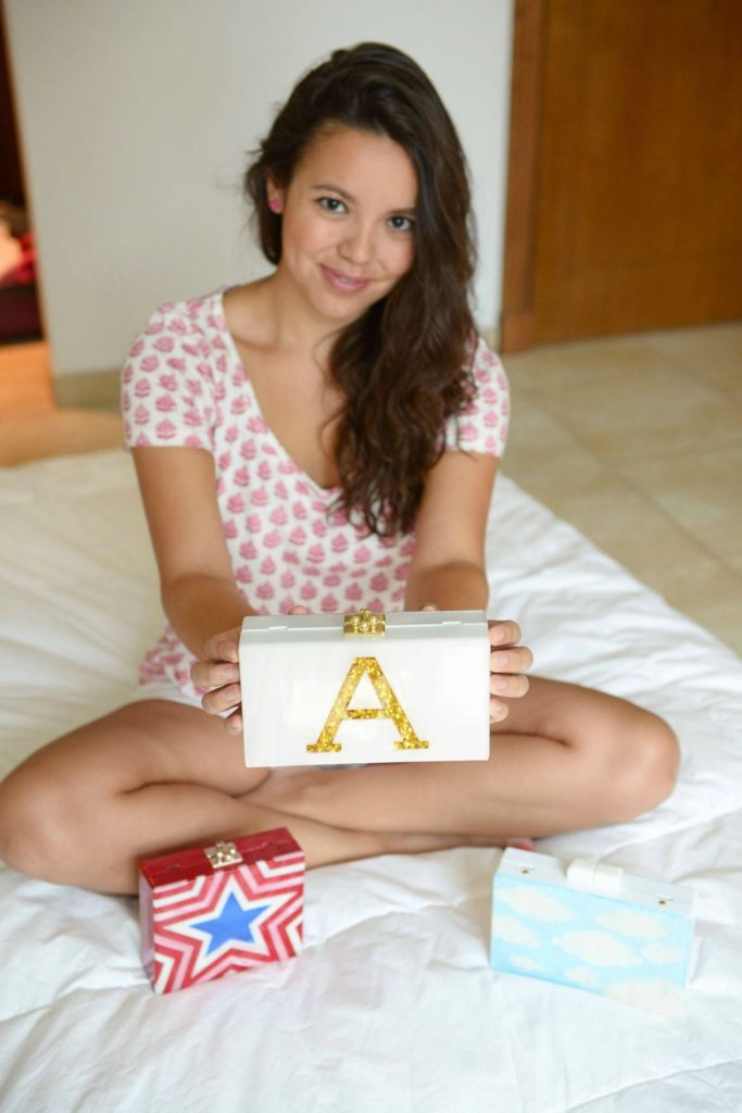 ClutchIt_AE gold monogram A clutch