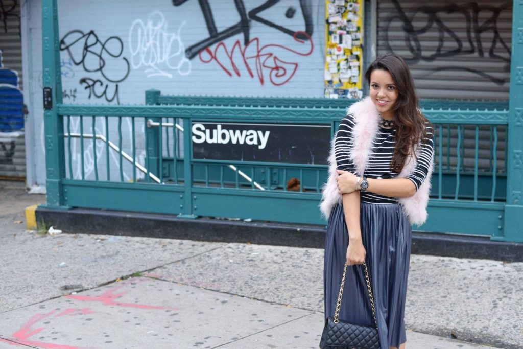 outside the Subway station - Alexandra Carreno NYFW