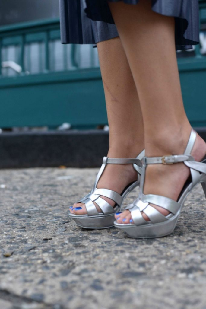 YSL Tribute Sandals - NYFW Street Style