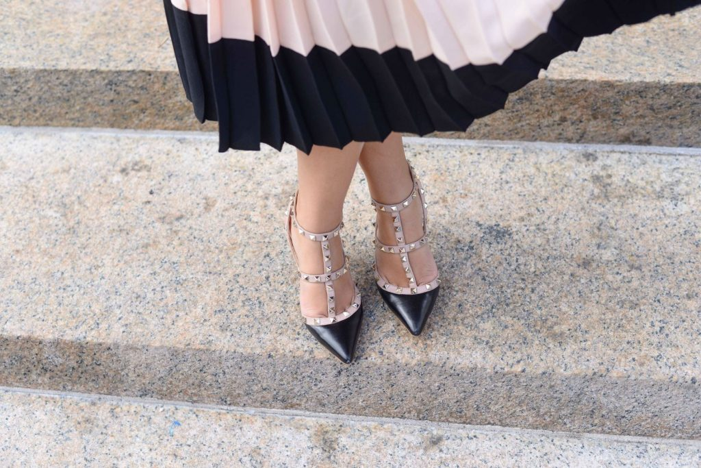 Valentino black leather rocketed pumps