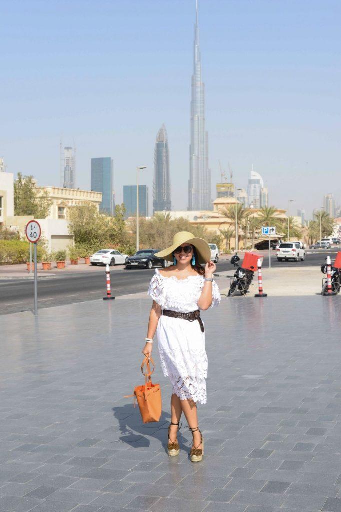 White Eyelet Dress - Summer in Dubai