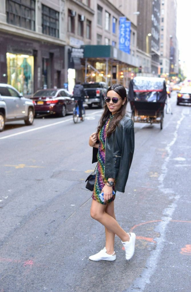 NYFW Street Style - Sequins and Sneakers - Alexandra Carreno