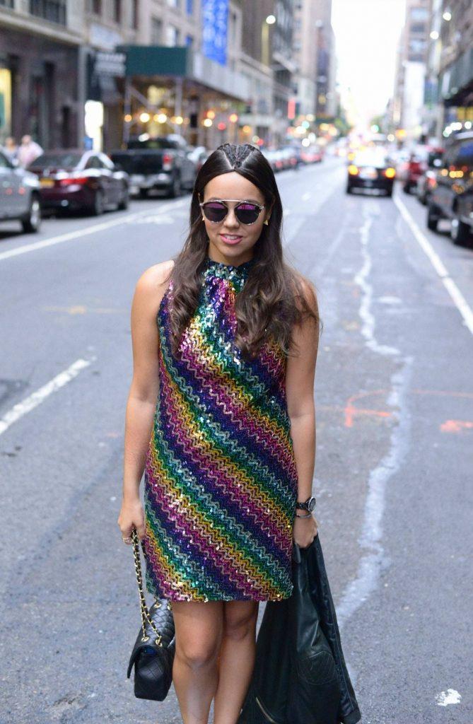 Vintage rainbow sequin dress - Alexandra Carreno NYFW Street Style