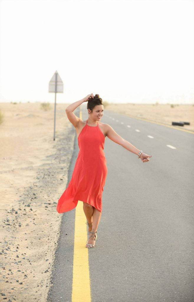 Little Red dress in the Dubai Desert