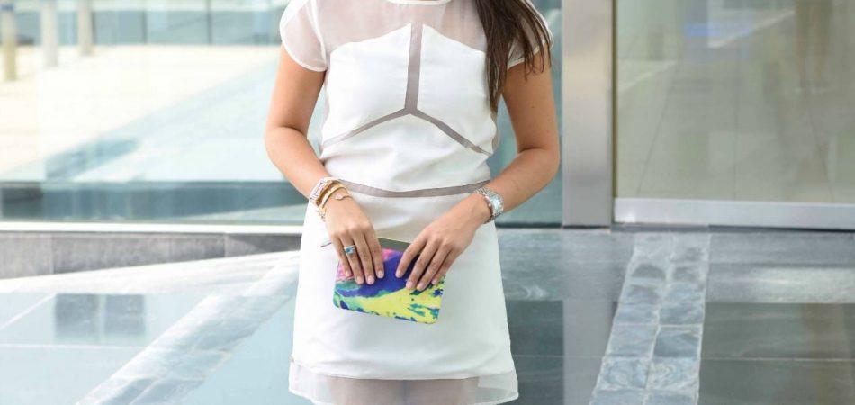 Pink Stitch White Dress - West L.A. Boutique Dubai