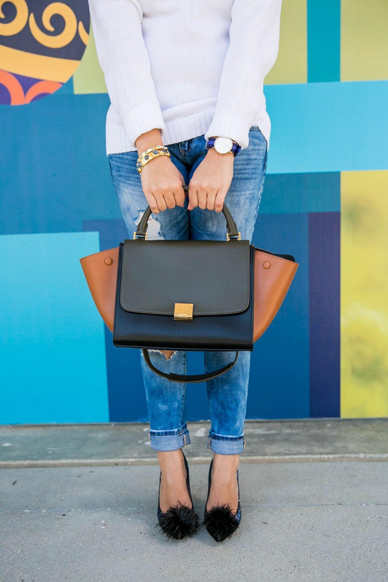 cca0b2590804 Celine color block trapeze purse
