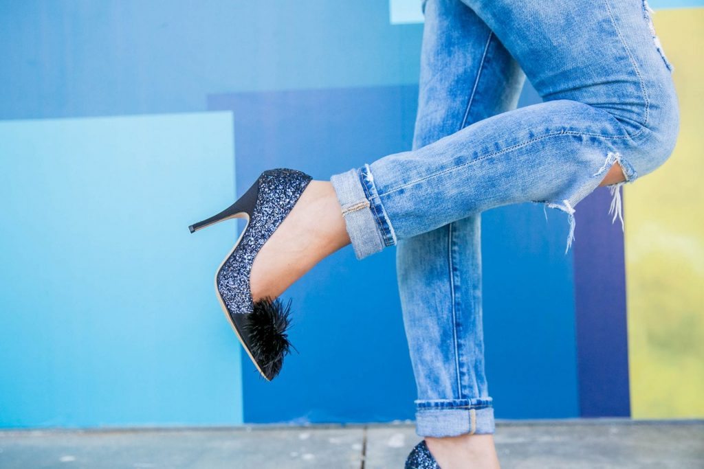 Distressed denim and sparkly pumps