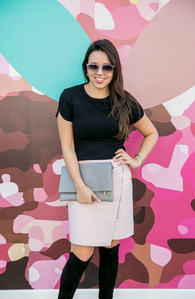 Asymmetrical zip miniskirt