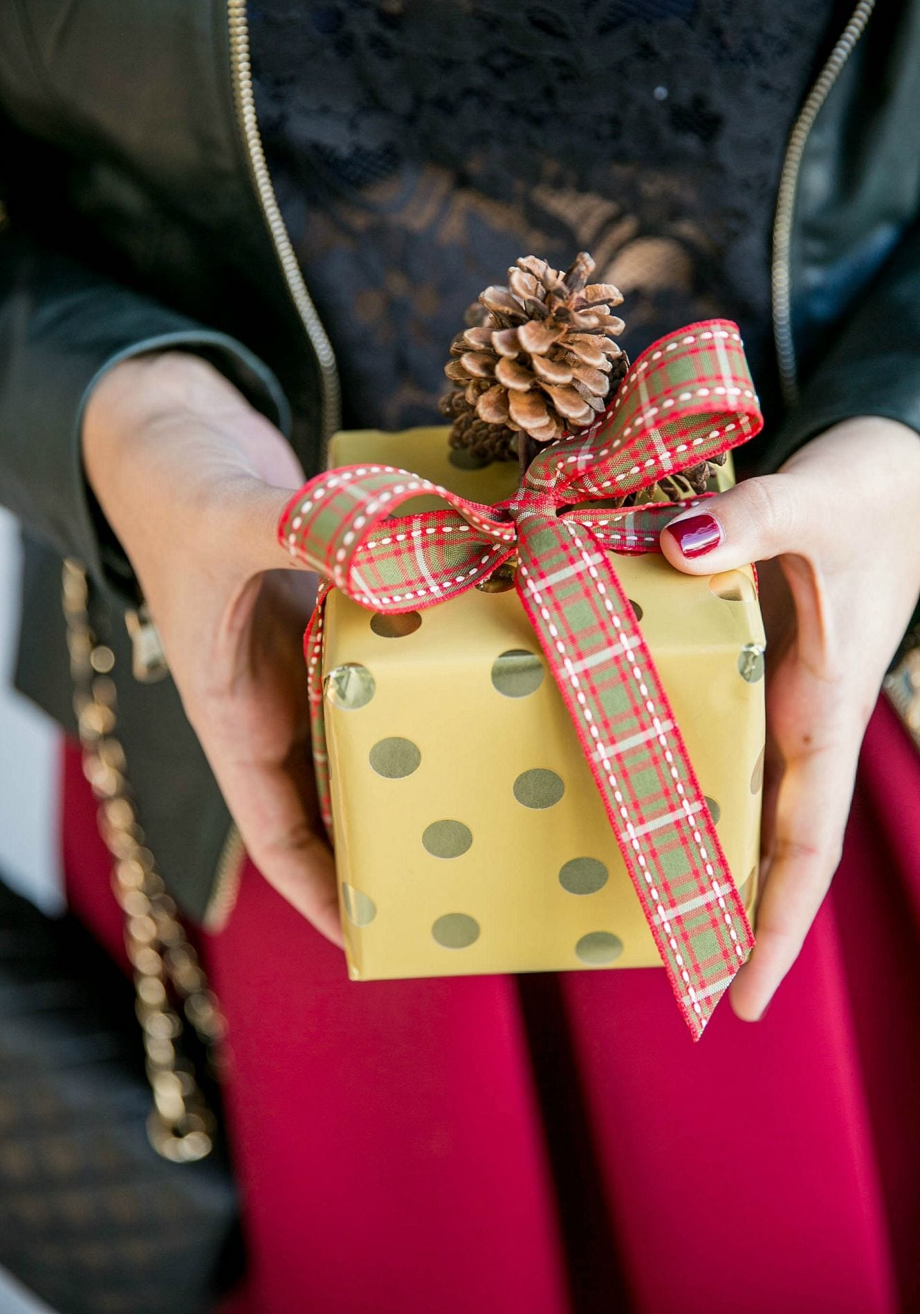 Wrapping a Christmas gift