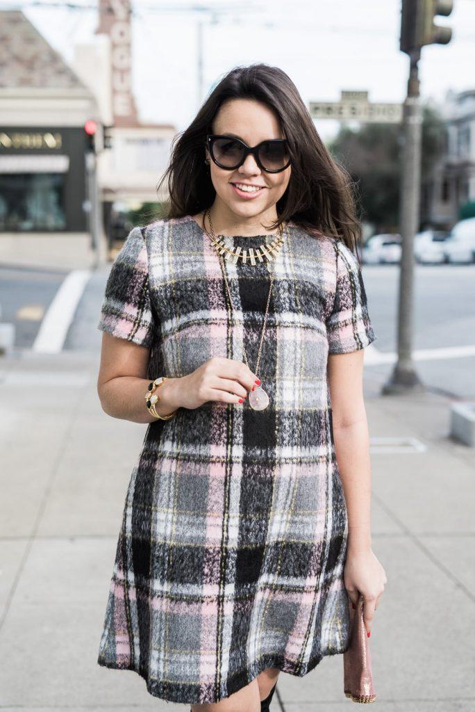 Line & Dot frontier plaid dress