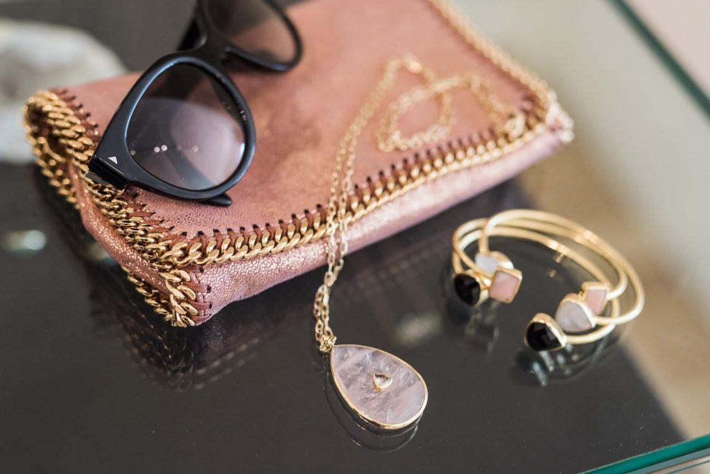 Margaret Elizabeth jewelry - Stella McCartney clutch