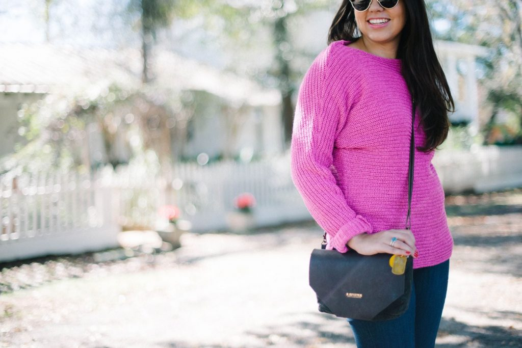Metallic pink sweater - R.Riveter bag