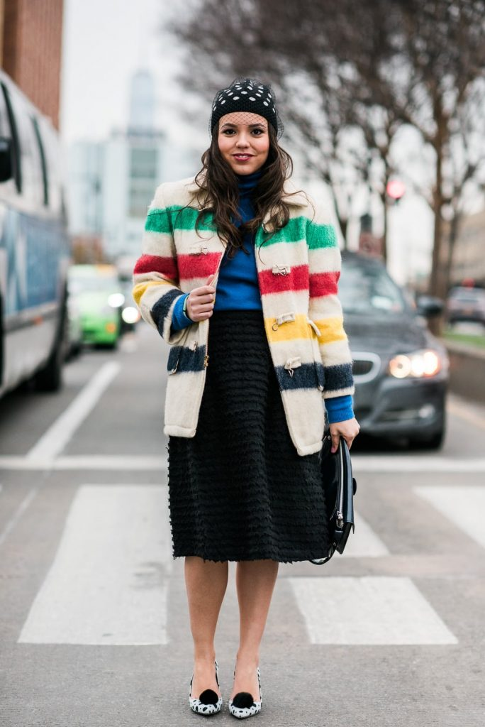 Pattern mixing stripes and polka dots