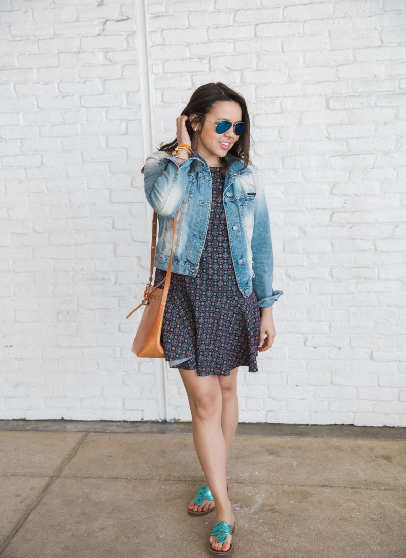denim jacket and navy printed dress