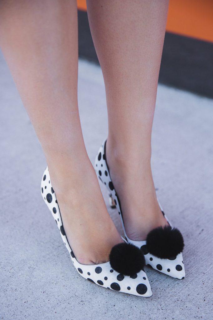 polka dot pom pom heels