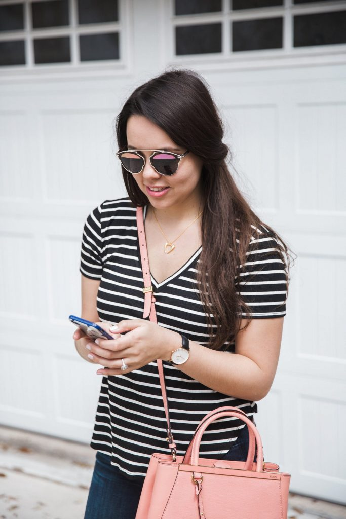striped tee and dior so real sunglasses
