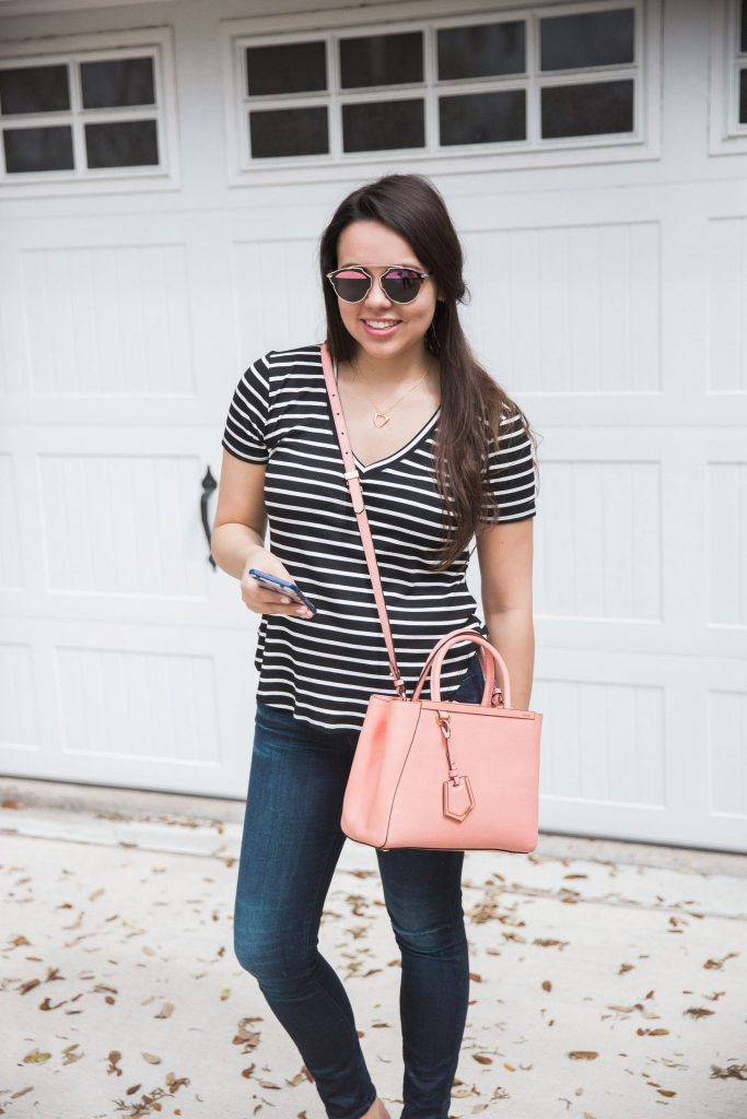 jeans and striped t-shirt