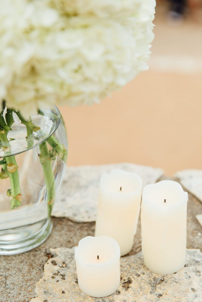white hydrangeas and candles