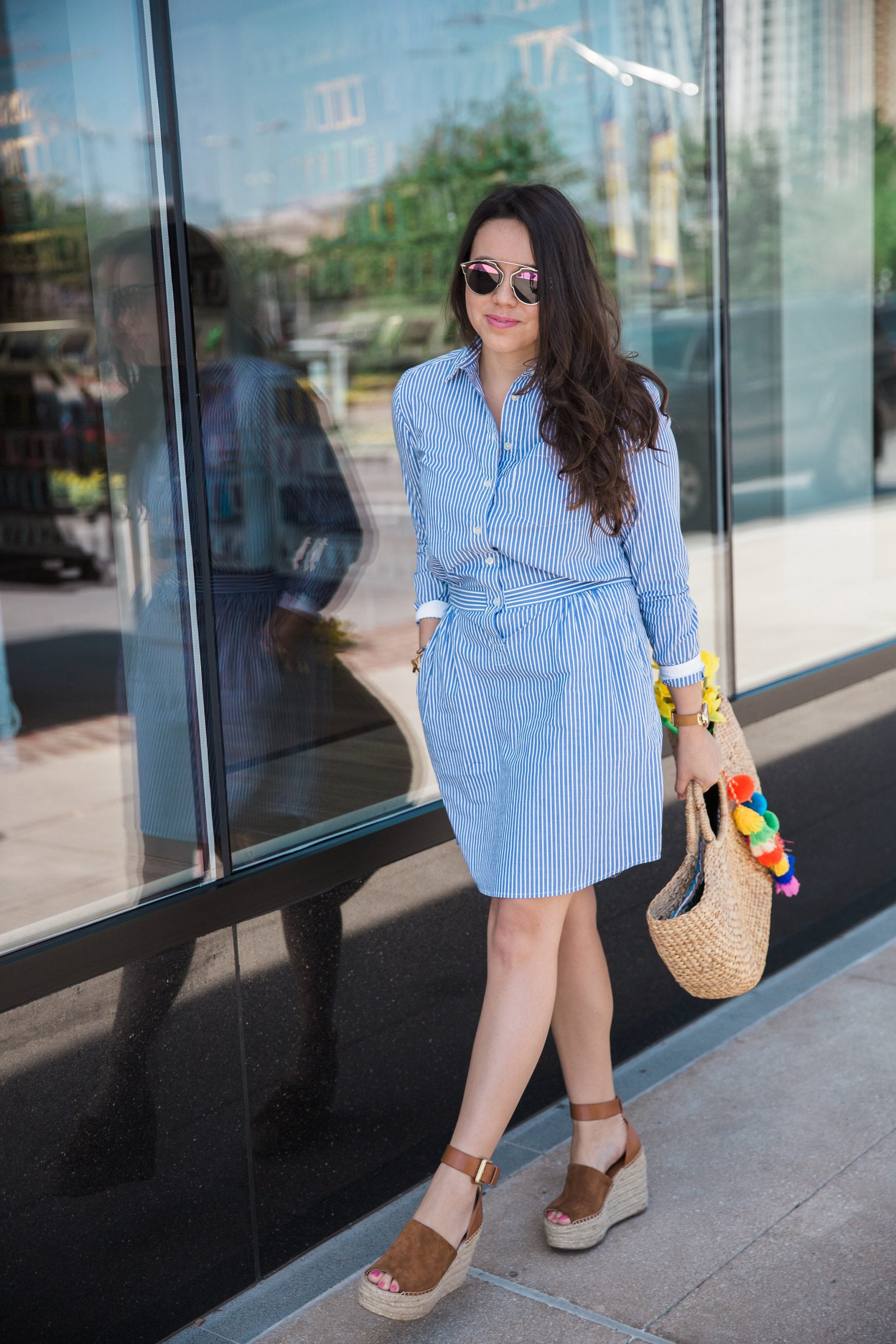 Banana Republic striped cotton shirtdress
