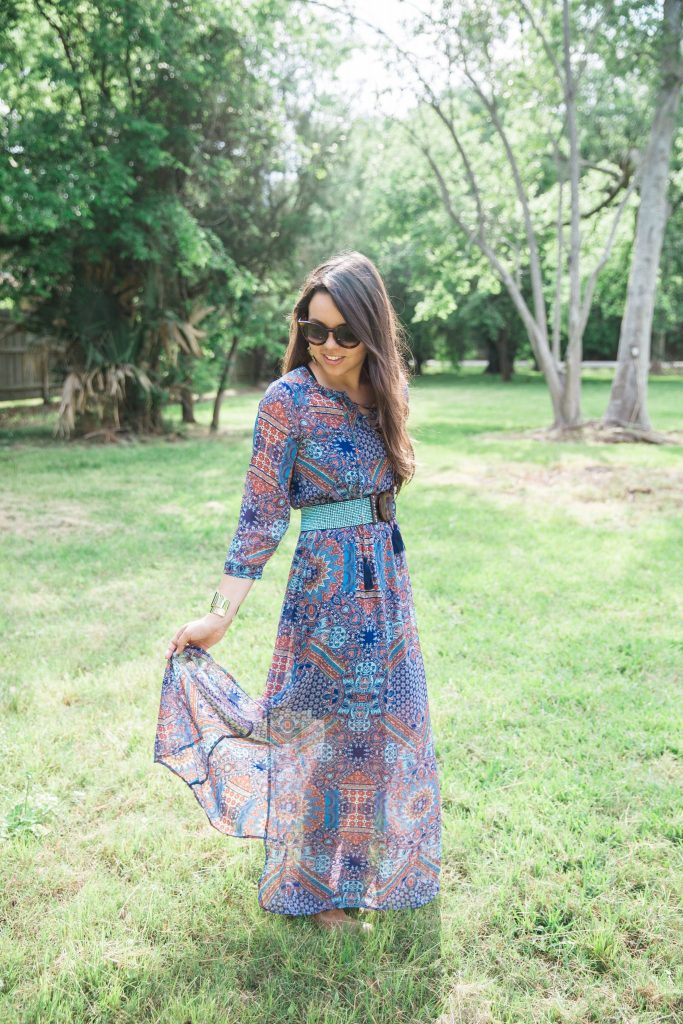 Long sheer belted maxi dress