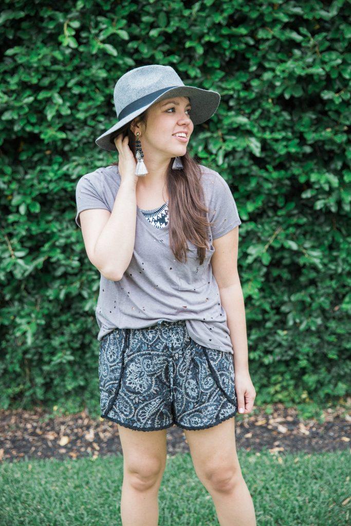 paisley drawstring shorts
