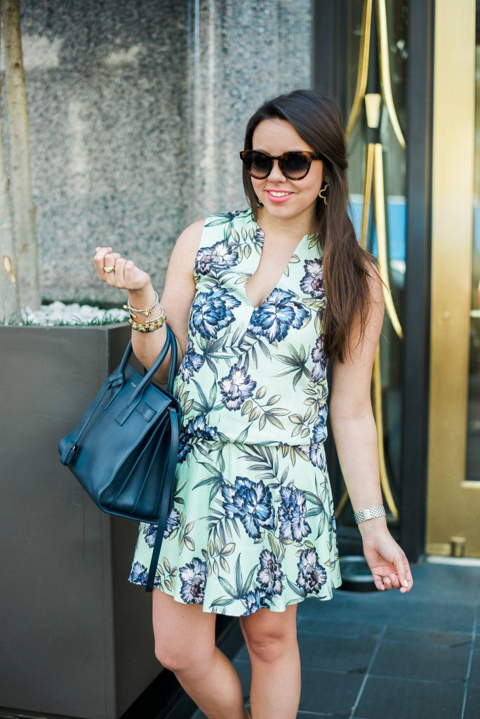 Alice + Olivia floral drop waist dress