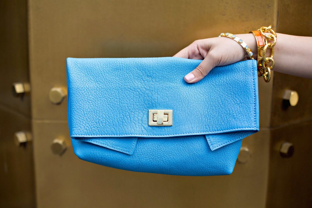 Hyacinth Claire Clutch in french goatskin leather
