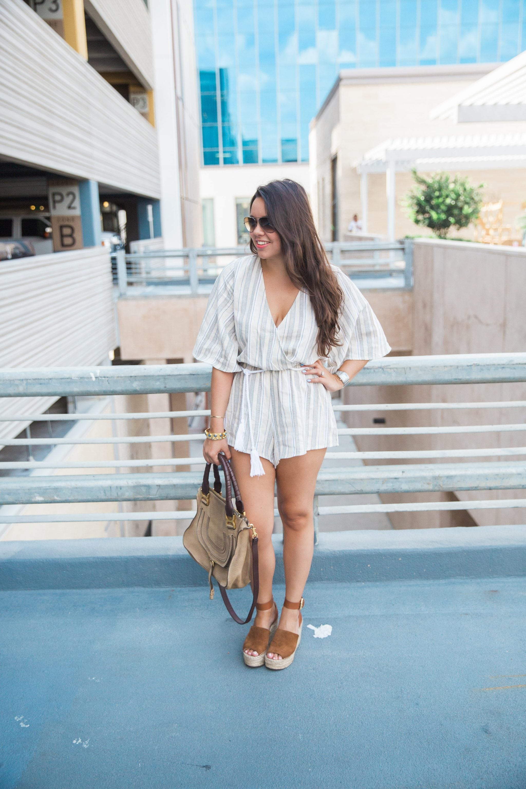 Striped Rope Tie Romper