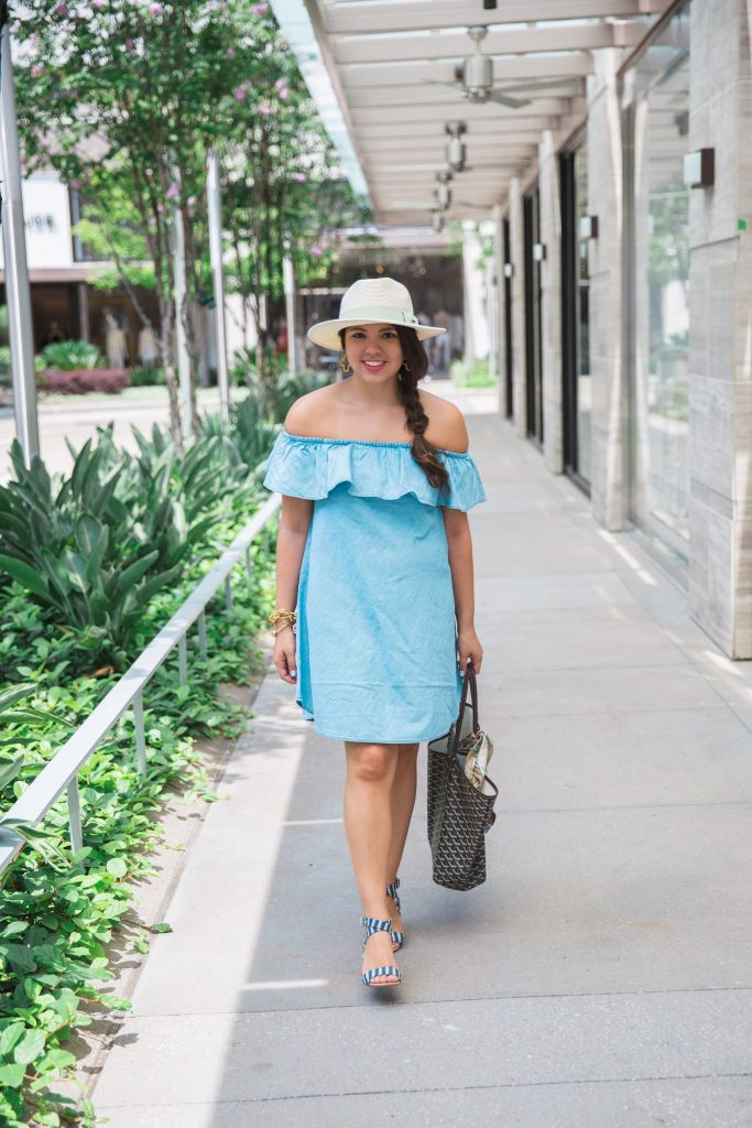 off-the-shoulder chambray dress