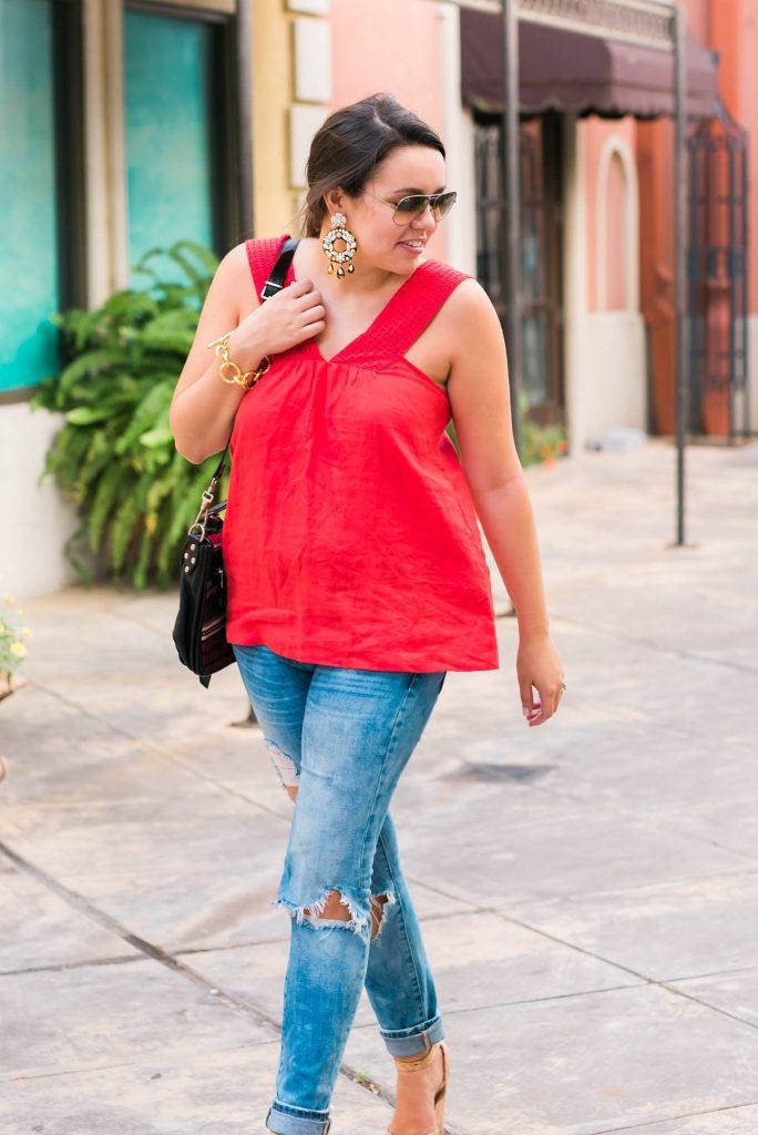 red linen sleeveless top