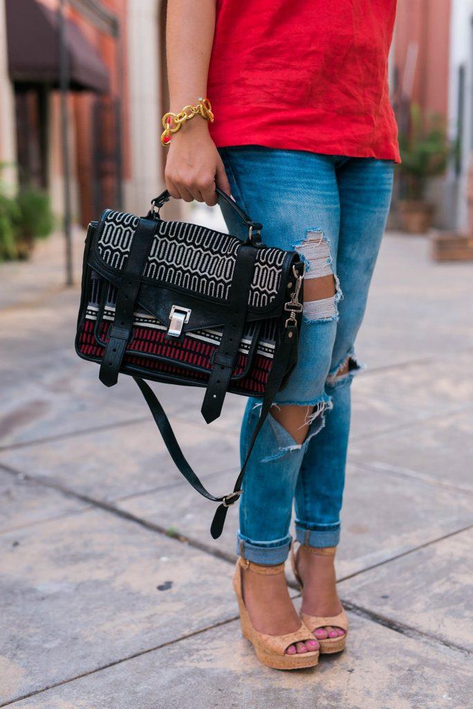 striped proena schouler PS1 satchel