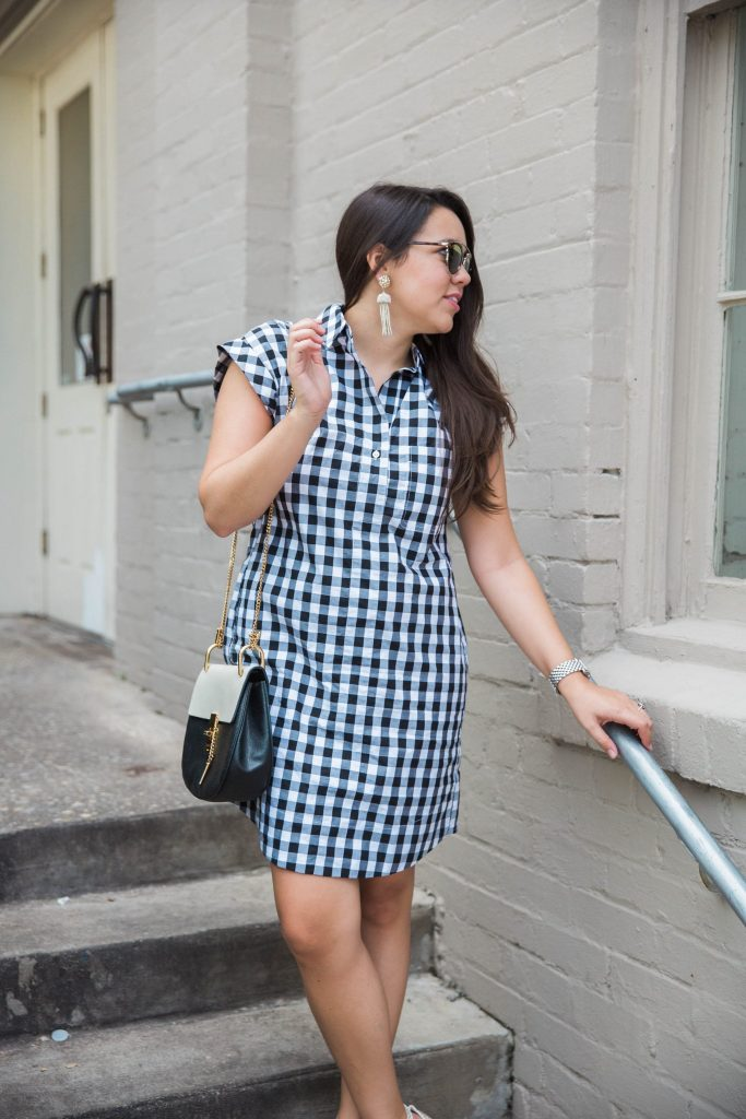 classic black and white shirtdress