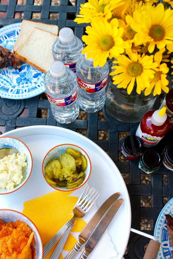 summer tablescape with Ozarka water
