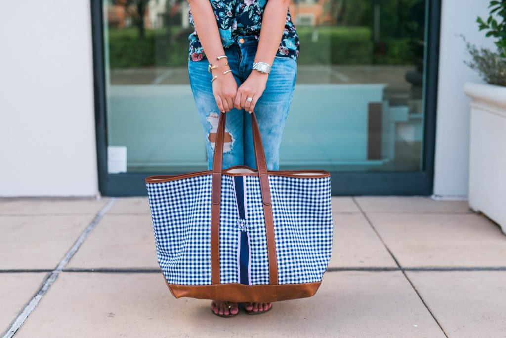 Navy Gingham weekender bag