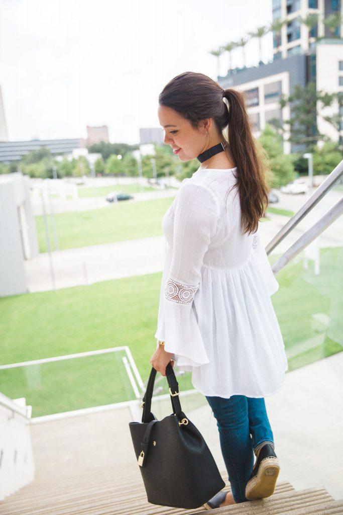 Bell sleeve peasant blouse