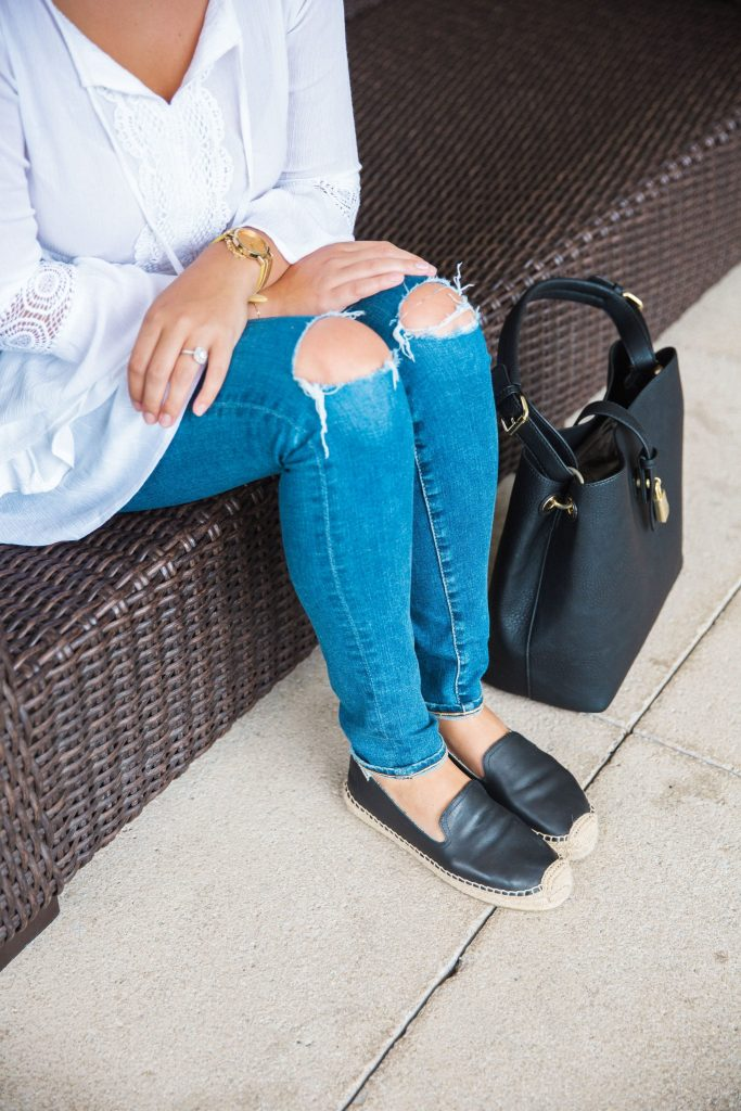 Distressed jeans and espadrille flats