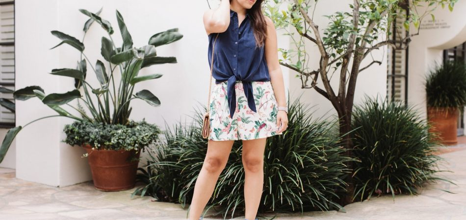 Navy Tie-Up Blouse and Printed shorts