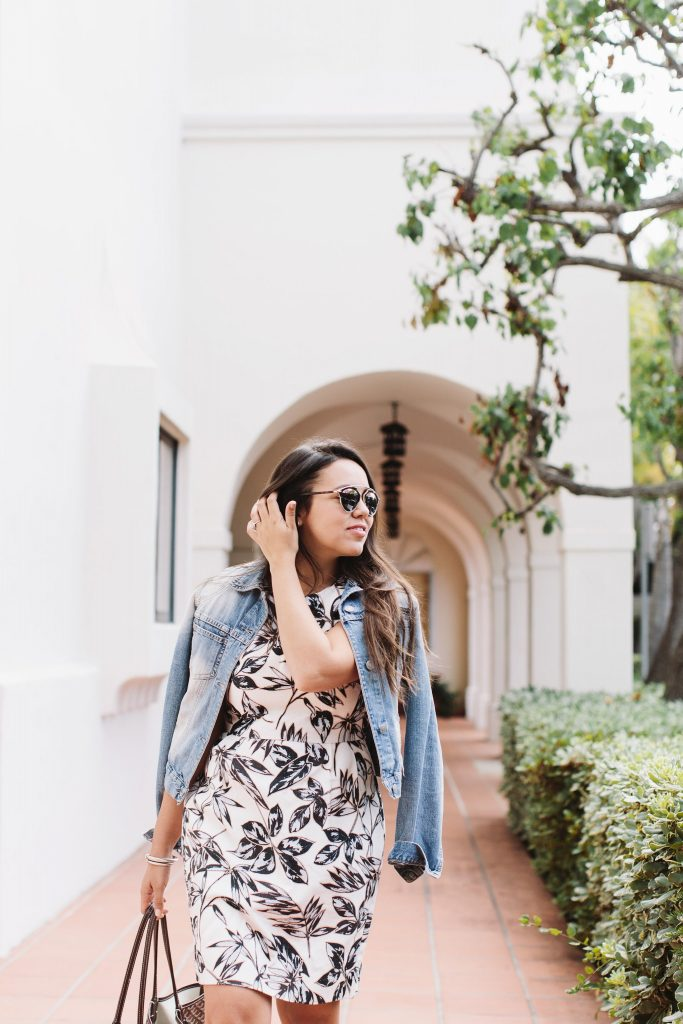 faded jean jacket and summer floral dress