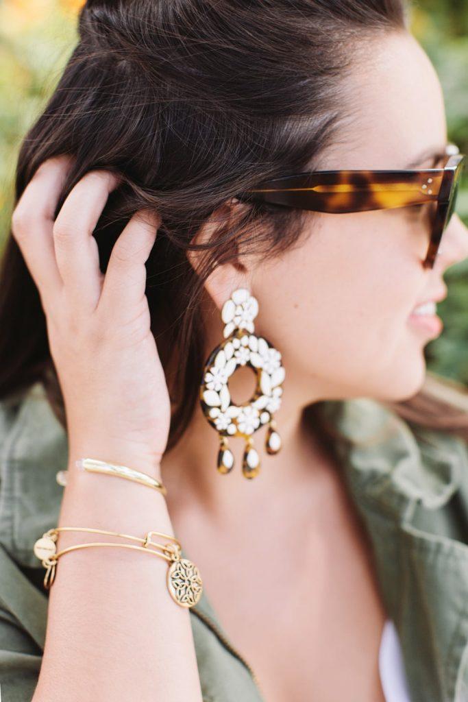 Bauble Bar quartz cuff, statement earrings