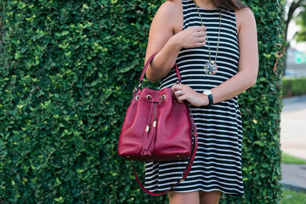 cranberry drawstring bucket bag