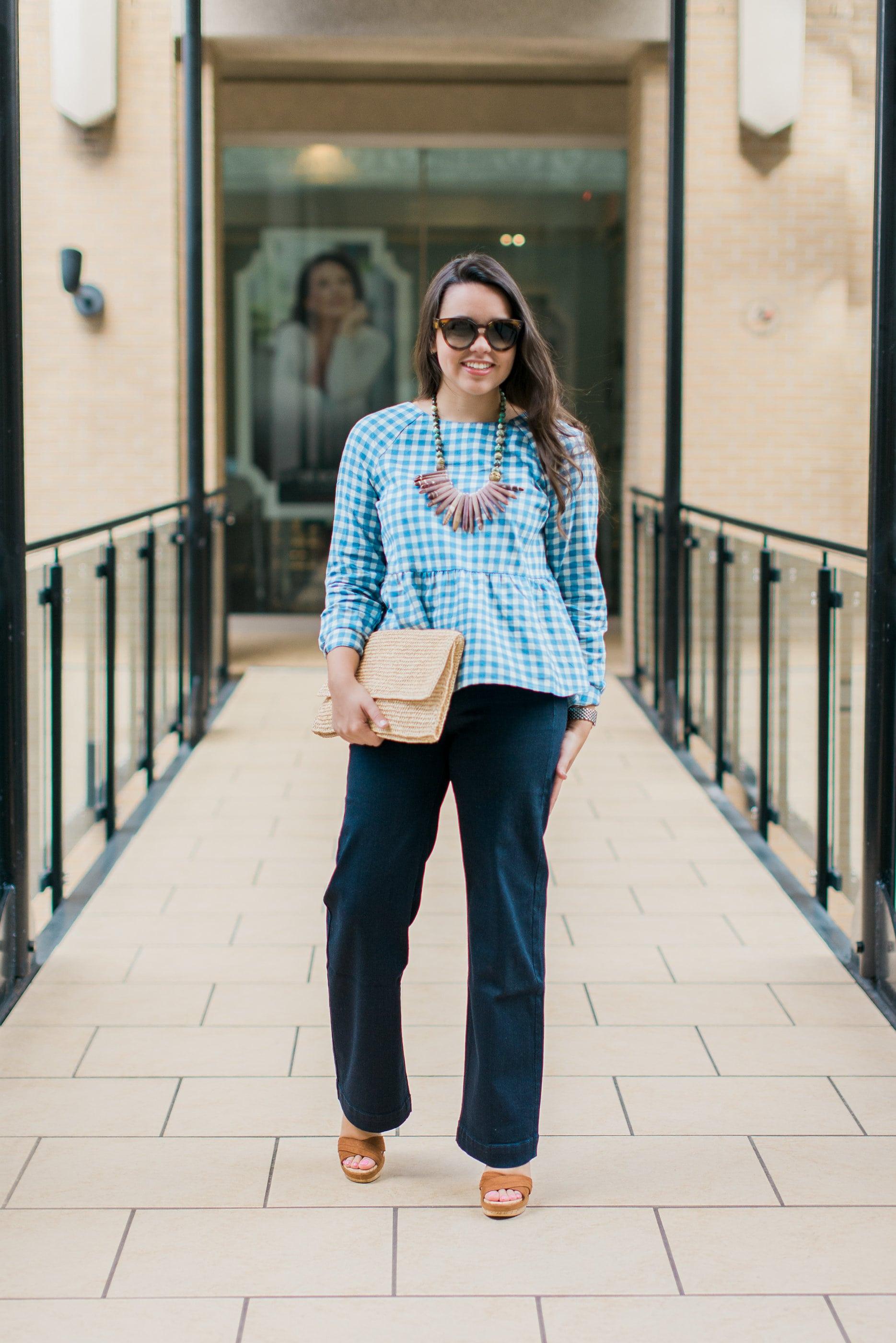 peplum gingham blue blouse
