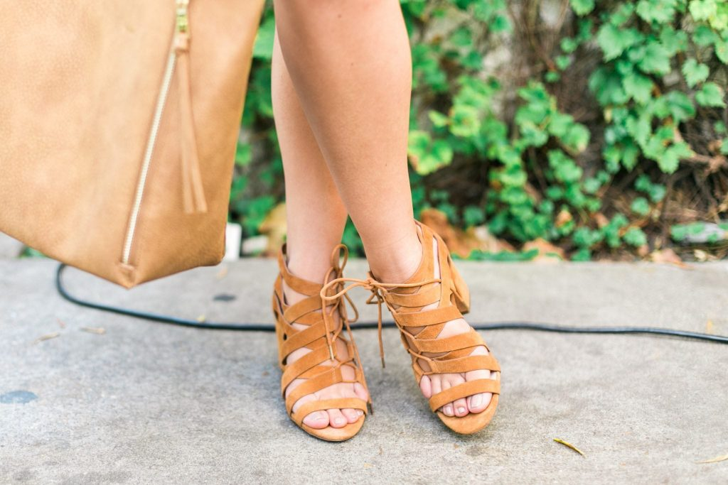 Sole Society Sequoia chestnut lace-up heeled sandals