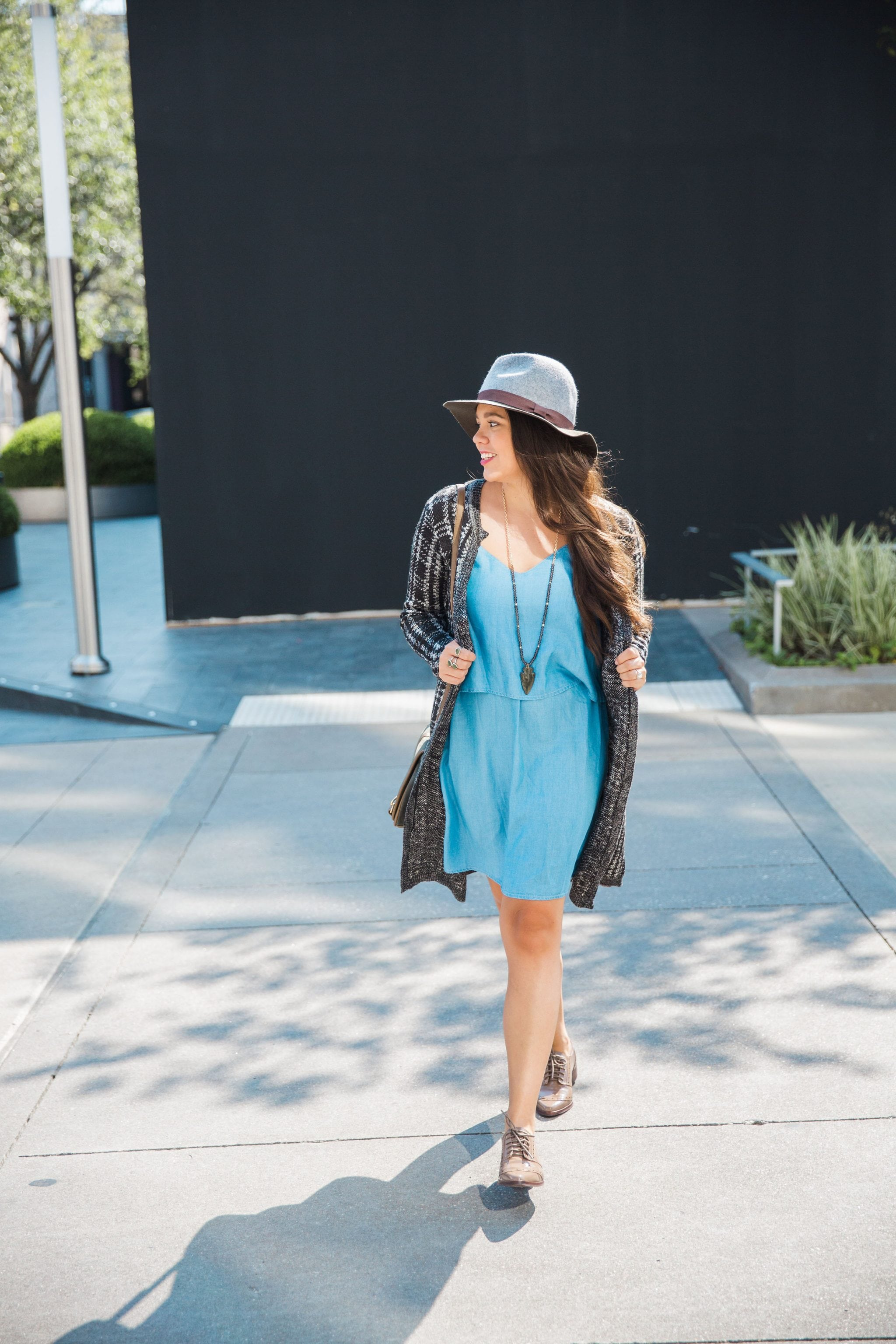 Fedora and duster cardigan for fall