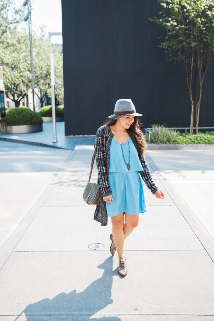 chambray dress with patent oxfords