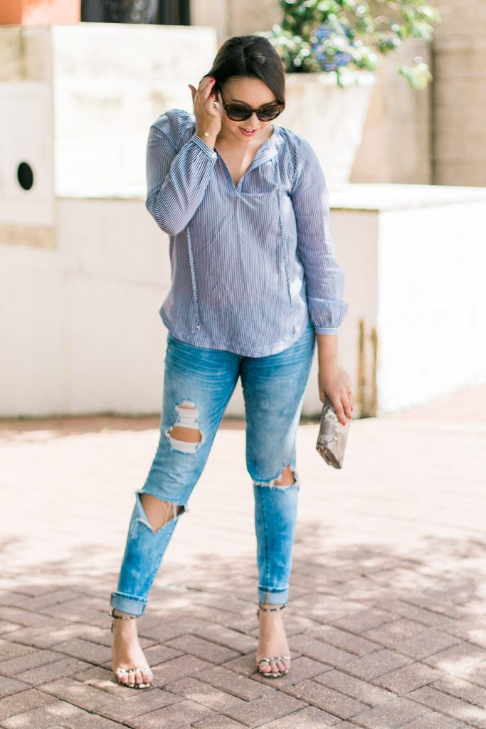 striped top and distressed denim