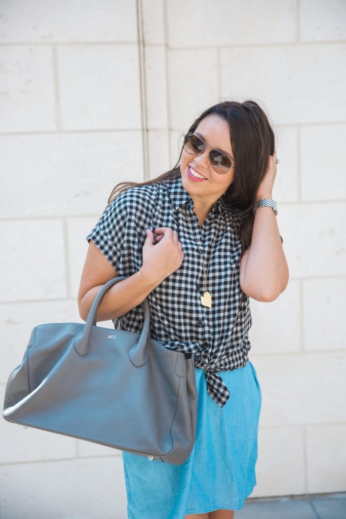Grey handbag and gingham check button-down