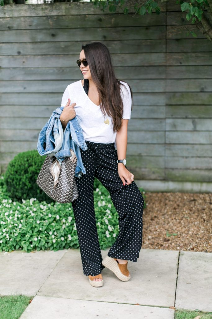 Dressed up drawstring pants and white tee