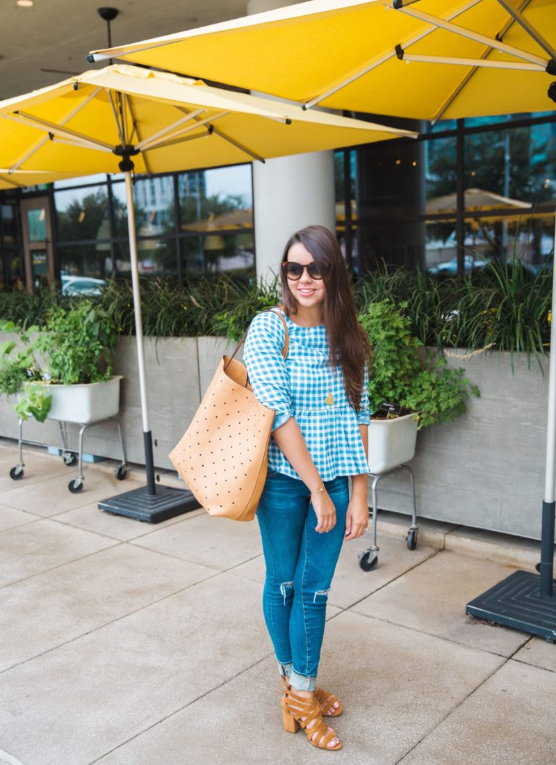 Turquoise gingham print blouse